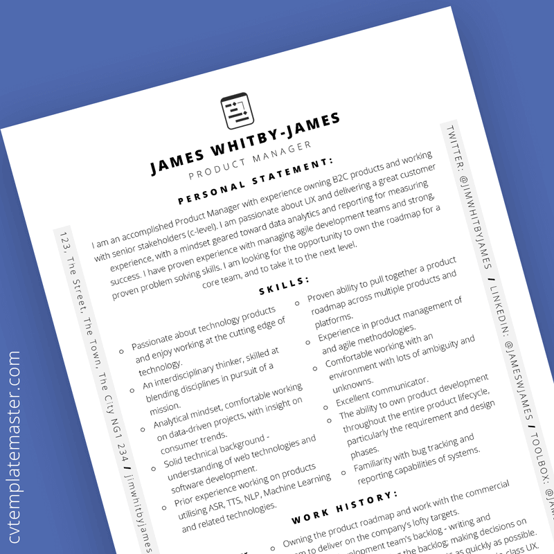 Free product manager CV template
