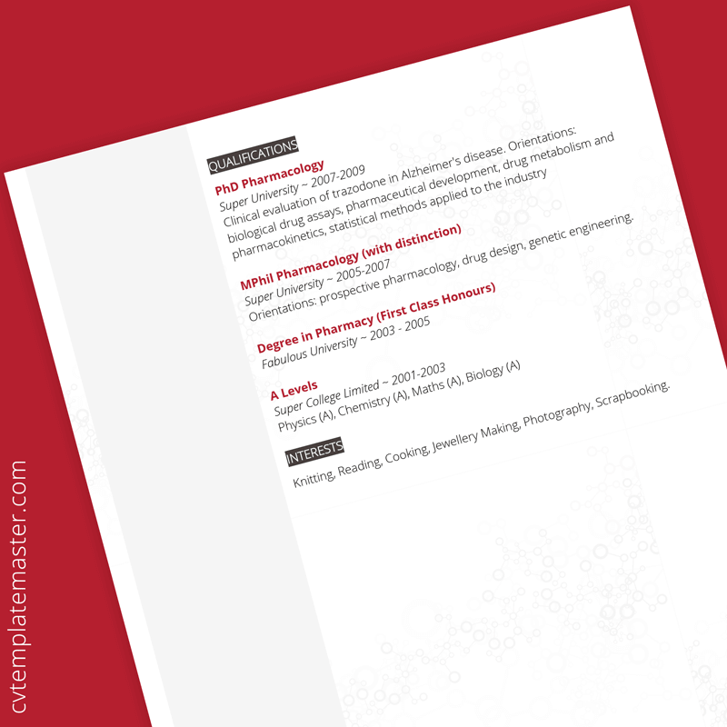 Science CV template - page 2