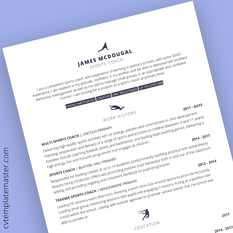 Sports themed CV template