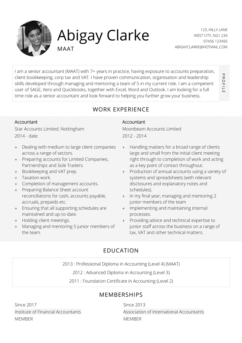Accountant CV template - page one