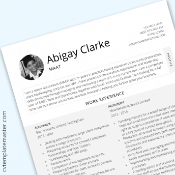 Accountant CV template: 'Flourish'  layout in Microsoft Word format
