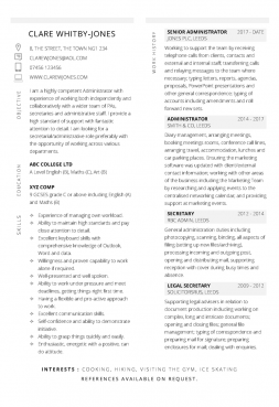 Free Administrator CV template in Microsoft Word format