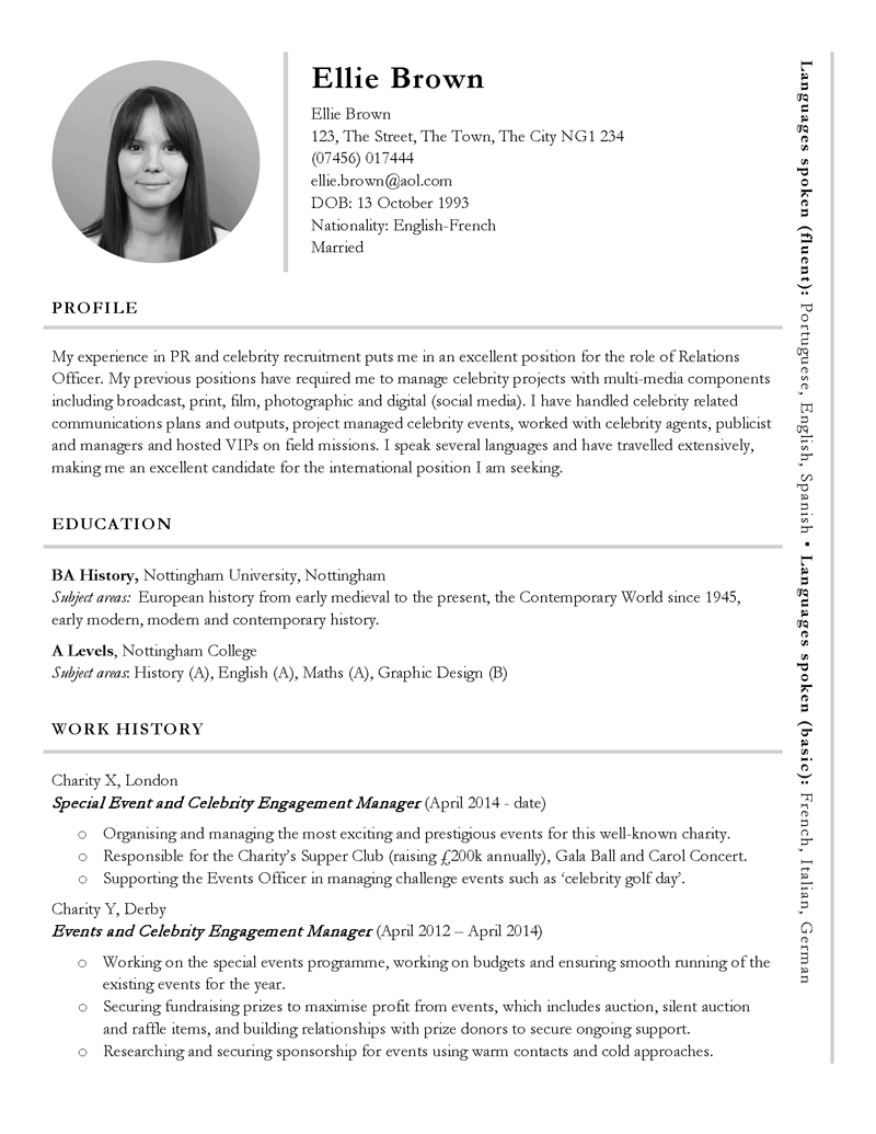 free international or pr themed cv template