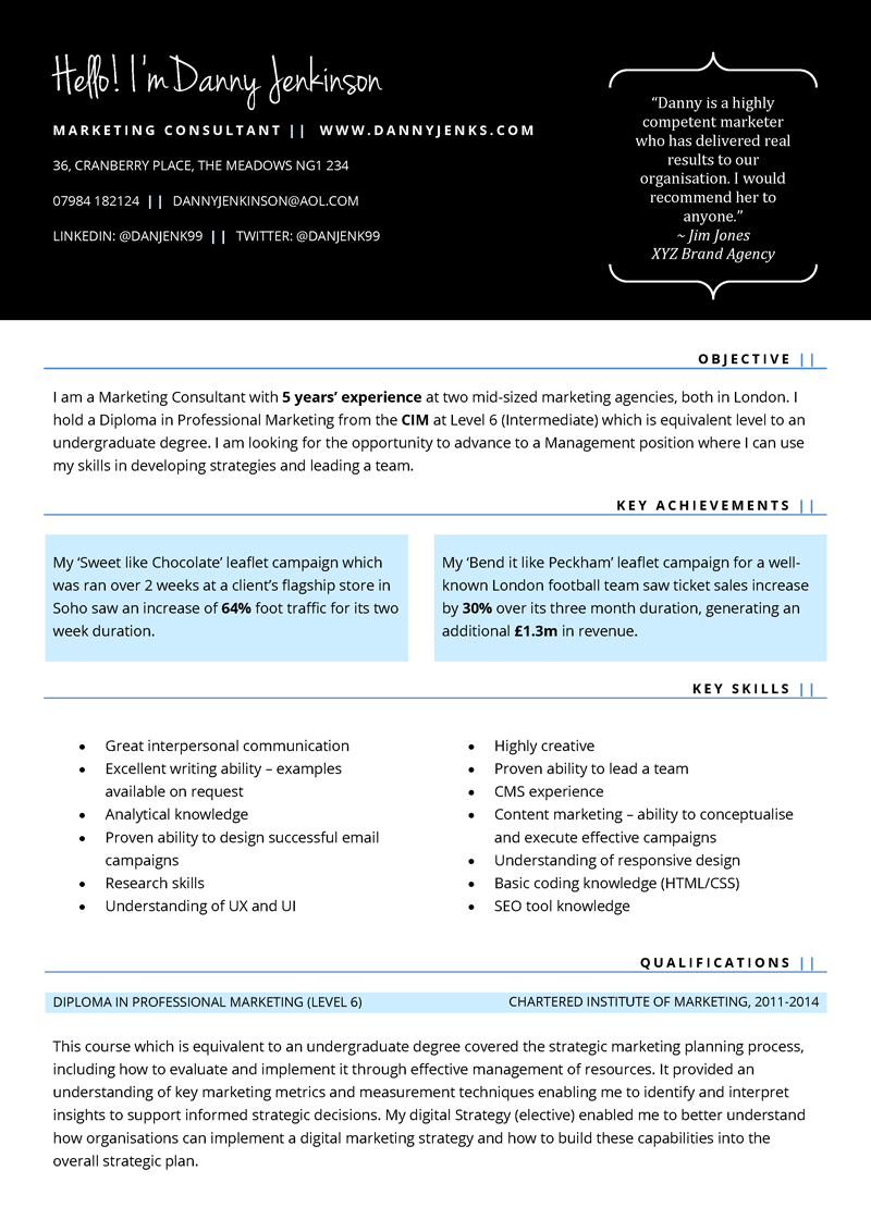 skills based cv template in word