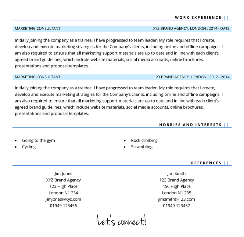 Marketing CV - page two