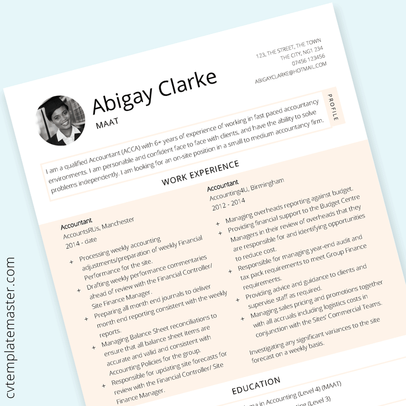 Accounting CV template