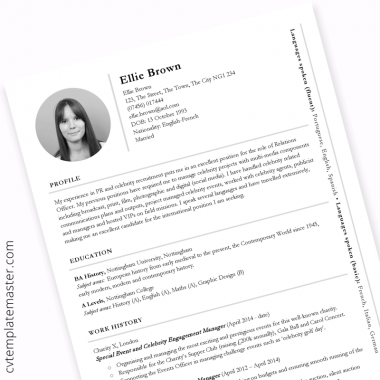 PR CV template (example content for public relations or international roles)