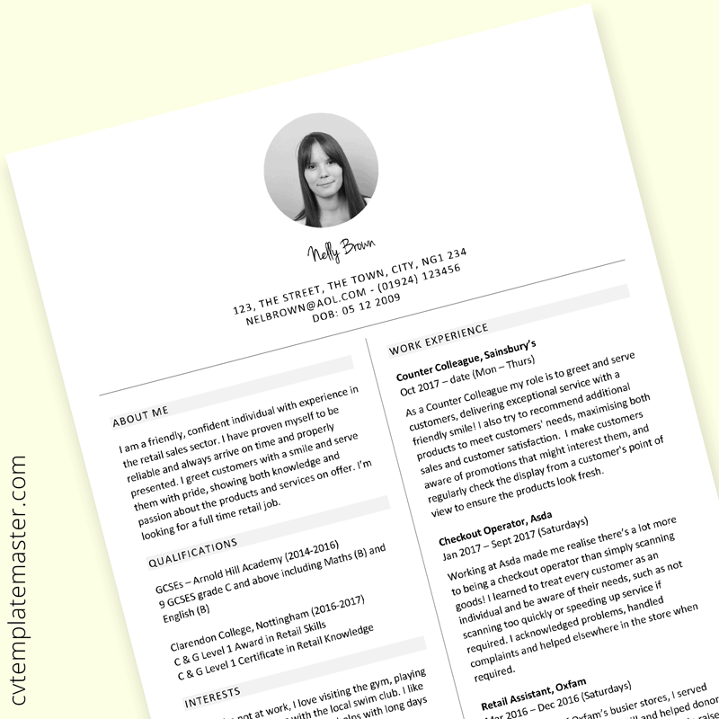 Retail sales CV template