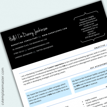 Skills based CV template in Word – 'Connect Quotes' design