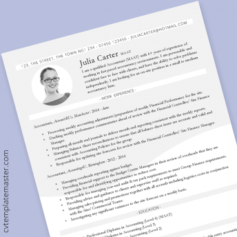 Accountant CV: free 'Wave' professional Word CV template