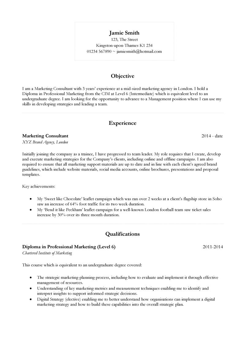 CV layout page 1