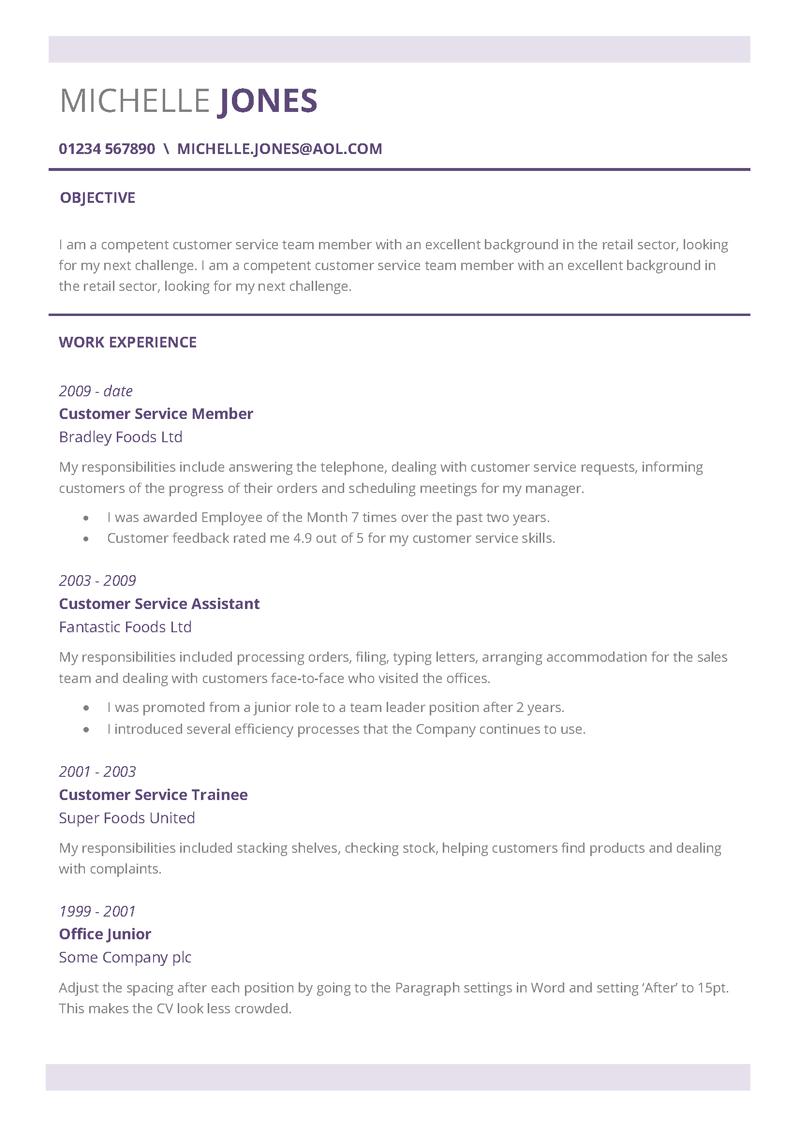 Subtle CV layout page 1