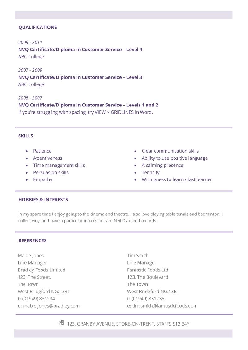 Subtle CV layout page 2