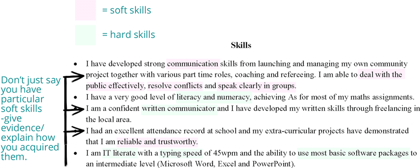 School leavers CV - skills section