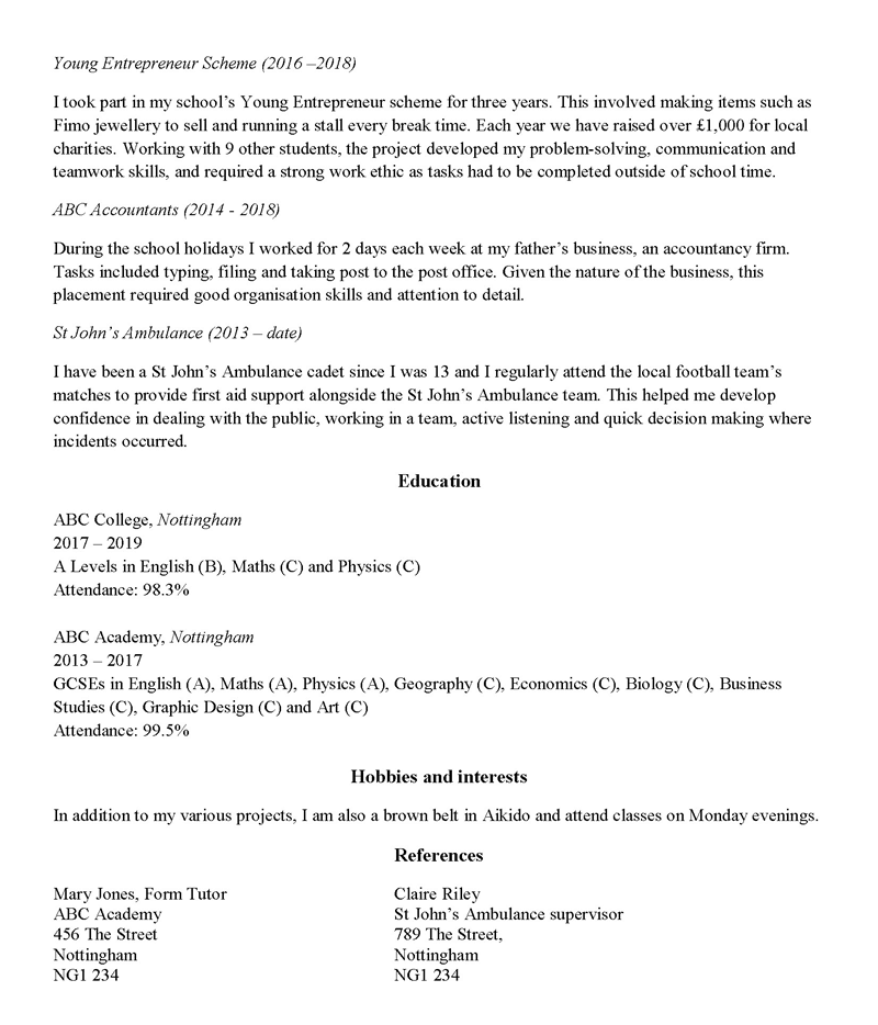 school leaver cv template  2019