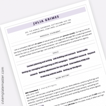 ATS compliant CV template : professional 'Highlight' design in MS Word