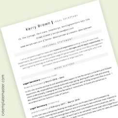 ATS-proof CV: simple template in Word format (Legal Secretary example content)