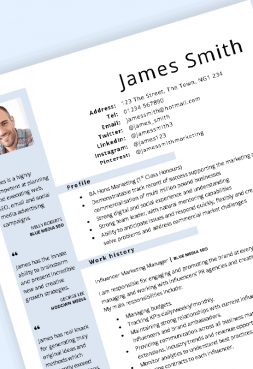 Blue layout CV template in Word – 2019 update