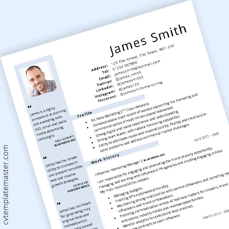 general cv template - blue layout  in word format