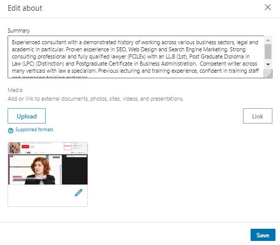 Add media to linkedin profile