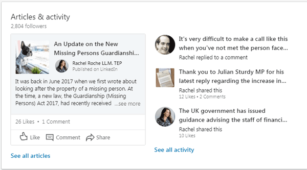 Articles and activity on LinkedIn