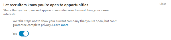 Linked In Opportunities setting