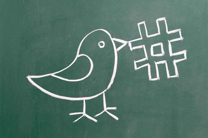 Twitter - hashtag and chalkboard bird