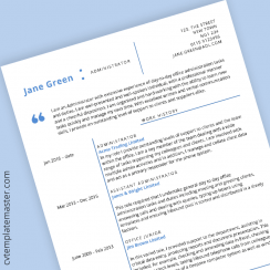 Free Office Admin CV template in Microsoft Word format