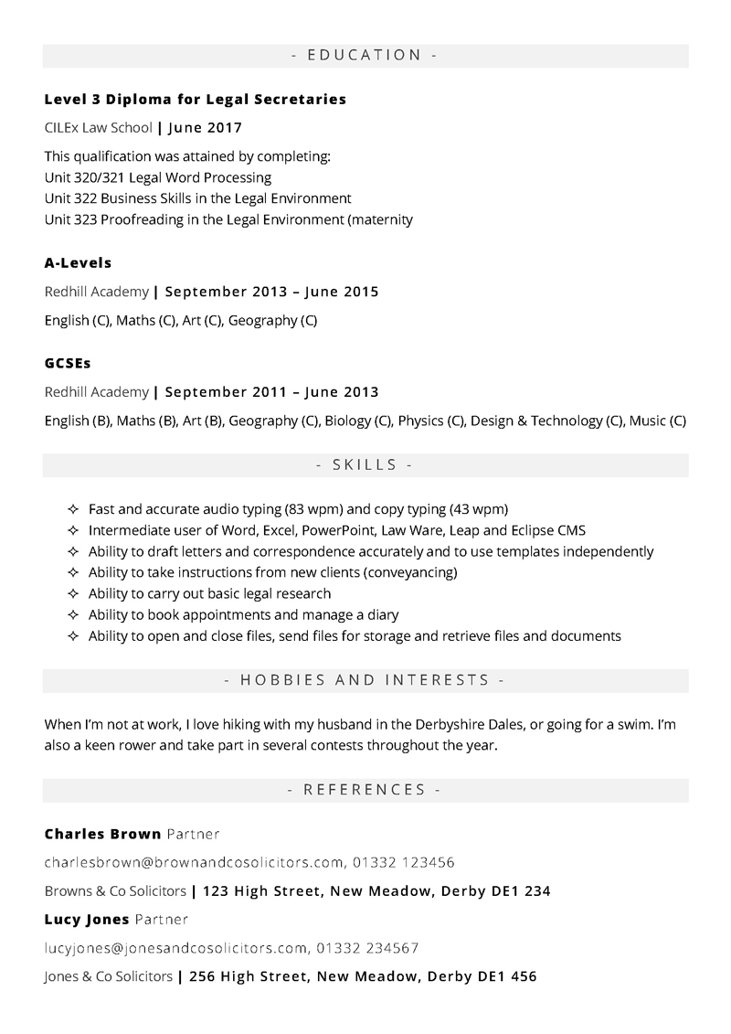 Legal secretary CV template - page 2