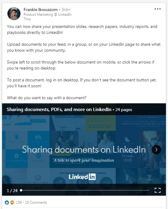Sharing presentations on linkedin