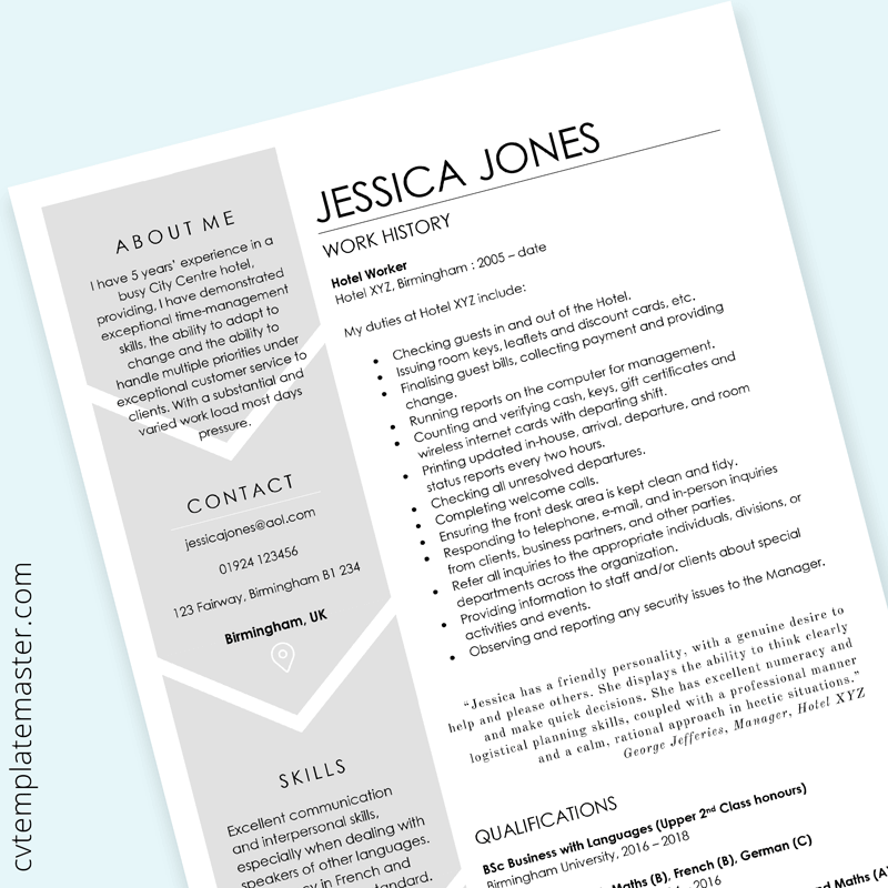 Hospitality Cv Free Cv Template For A Hotel Worker Ms Word