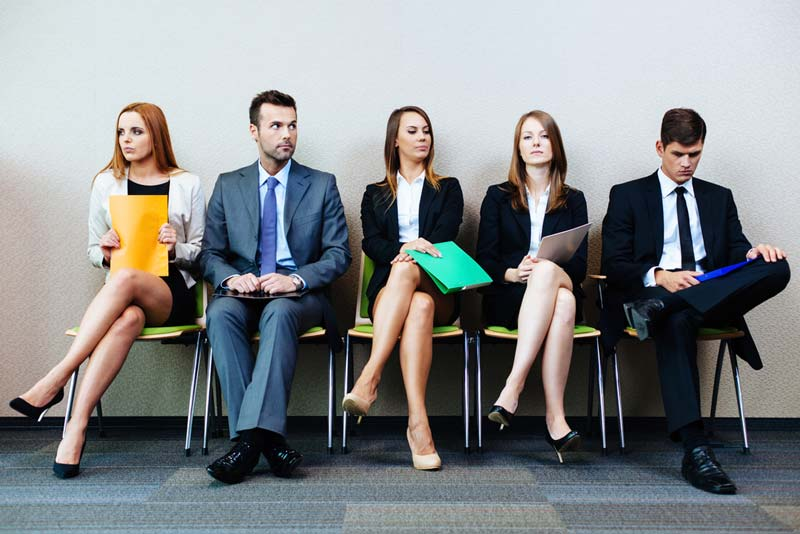 Job interview candidates waiting