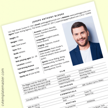 Acting CV template with example content (free, MS Word)
