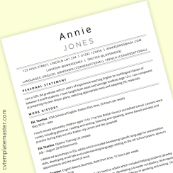 TEFL CV template (free MS Word download)