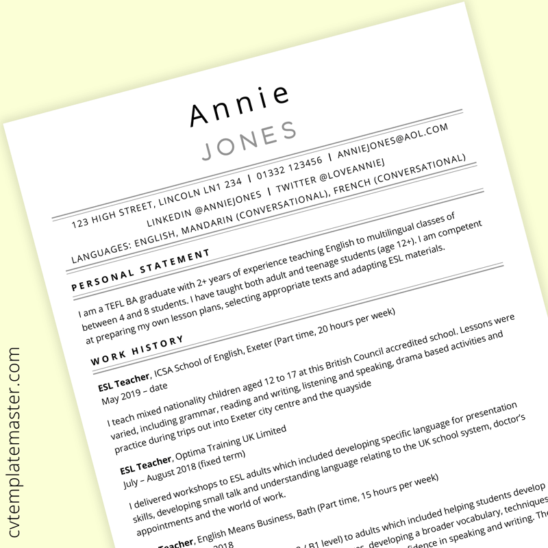 Tefl Cv Template Free Ms Word Download Cvtemplatemaster Com