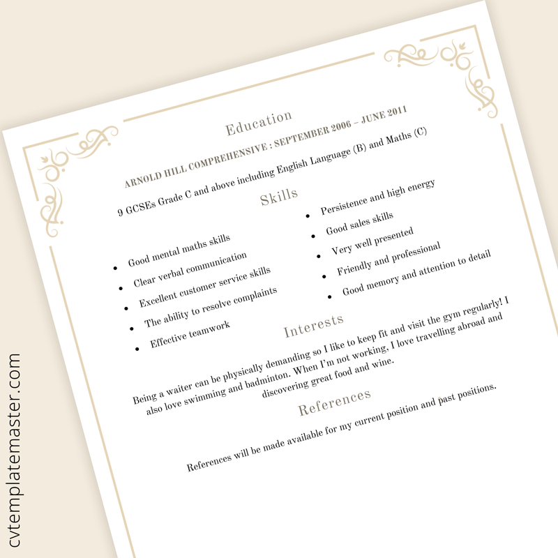 Waiter CV template - page 2