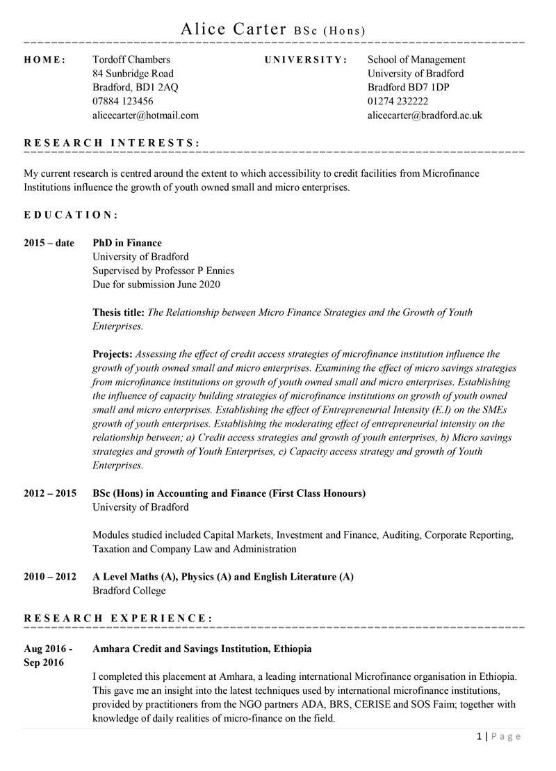 academic cv template with example content with example