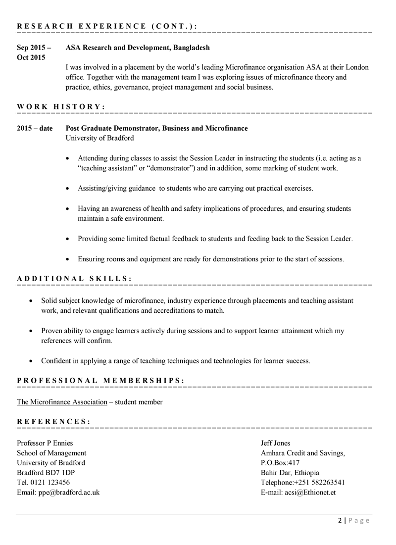 Academic CV example template - page 2