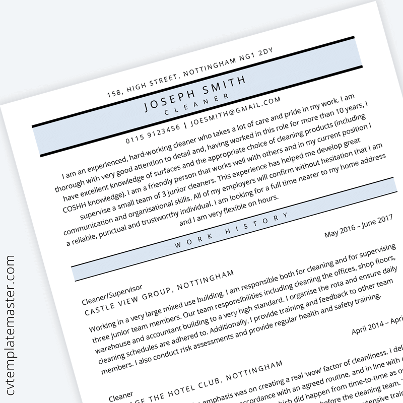 Cleaner Cv Template In Microsoft Word Free Download