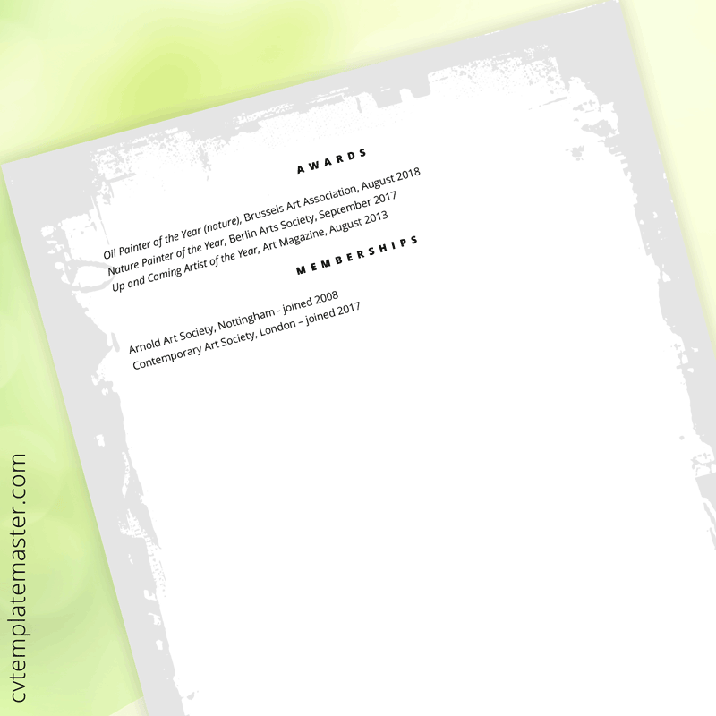 Artist CV template - page 2