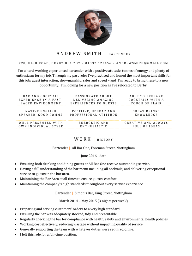 Bartender CV example - page one