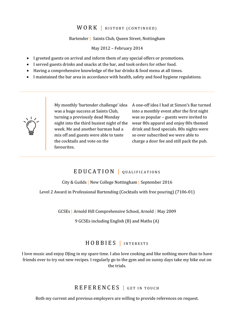 Bartender CV example - page two