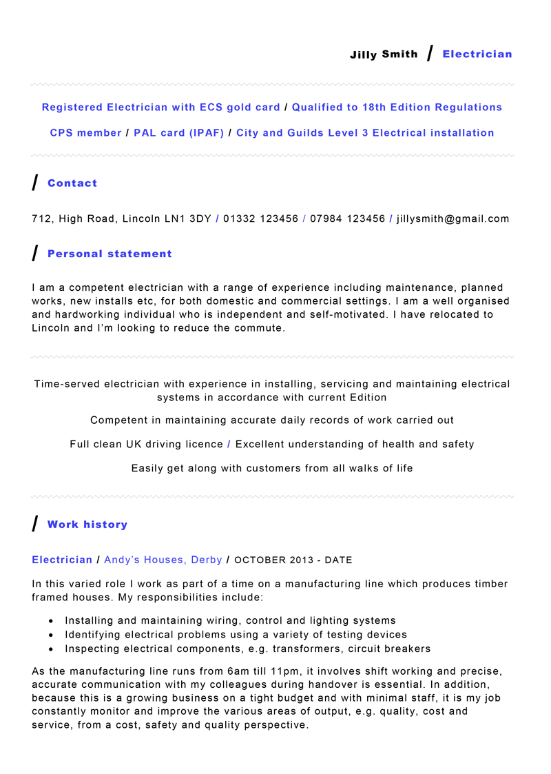 Electrician CV template- preview of page one