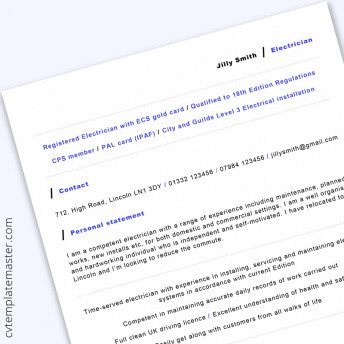 Electrician CV template: free example in Microsoft Word format