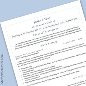 Mechanical engineer CV template – free example in Microsoft Word