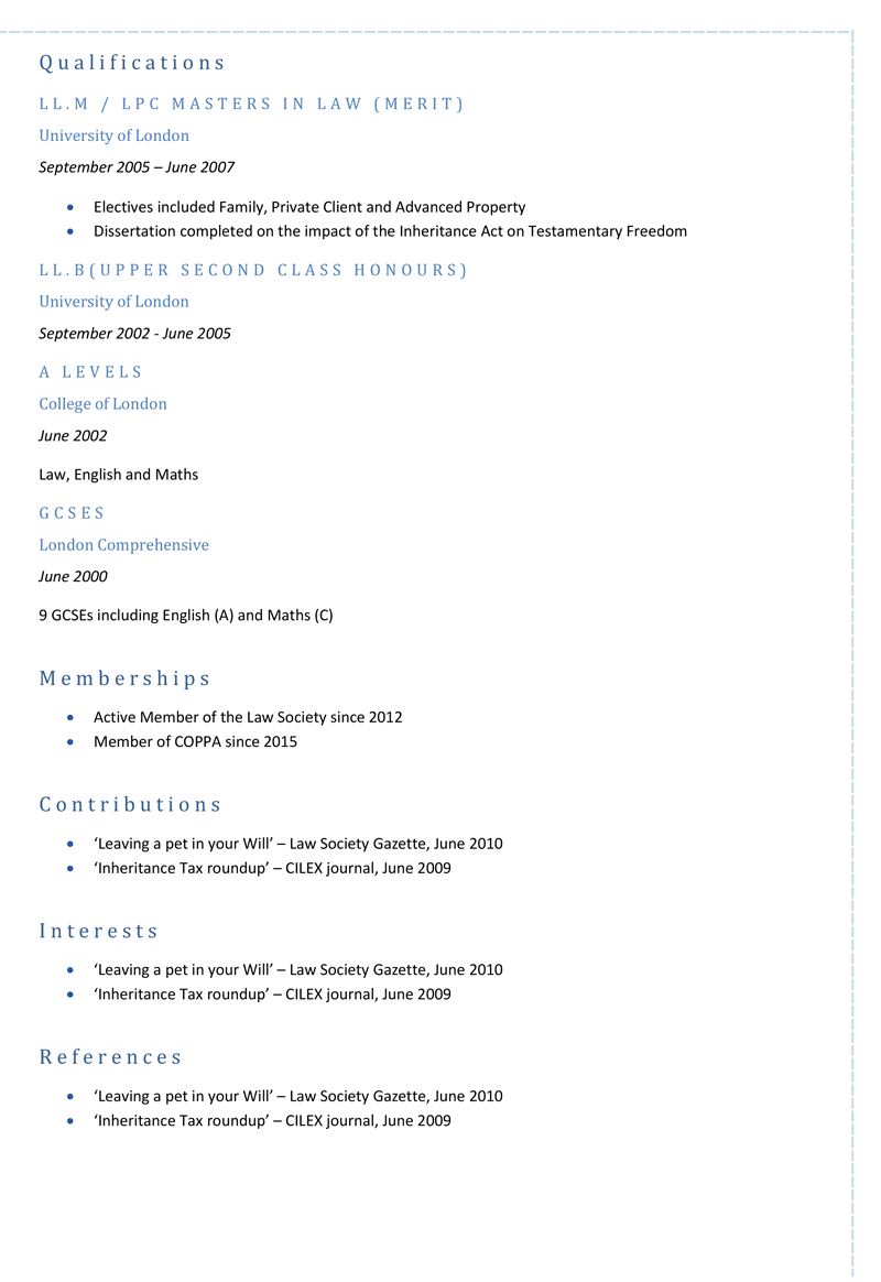 Law CV template - page 2