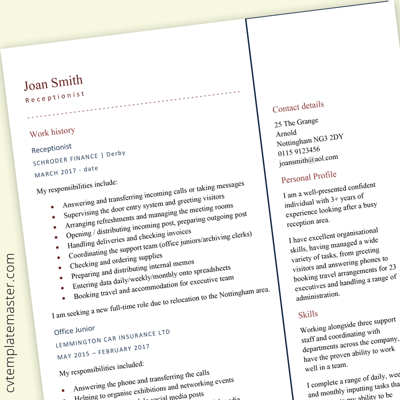 Receptionist CV example - preview