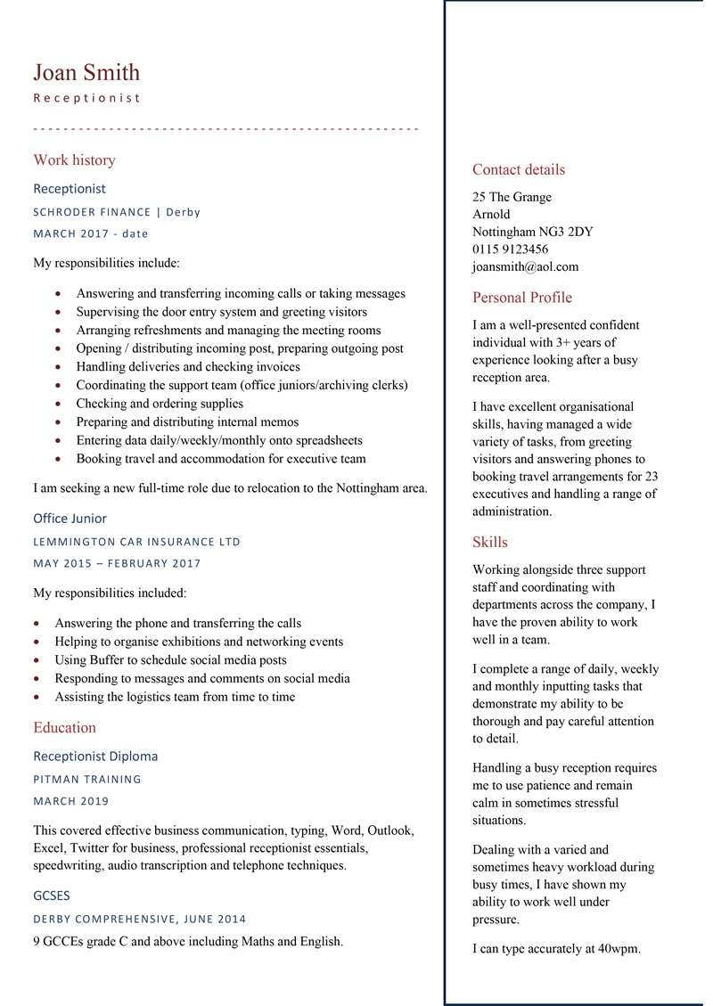 One page receptionist CV example - full preview
