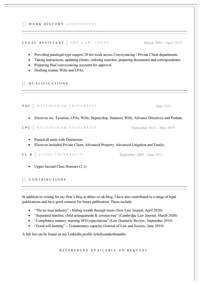 Lawyer CV template - page 2
