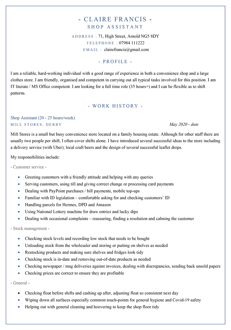 Shop assistant CV template - page 1